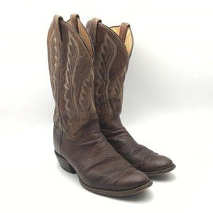 Tony Lama Mens Cowboy Boots Brown Toe Pull Ons 11
